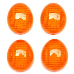 CABOCHON CLIGNOTANT SCOOT ADAPTABLE PEUGEOT 50 LUDIX, TKR FURIOUS, XP6 AV+AR ORANGE (x4)  -REPLAY-