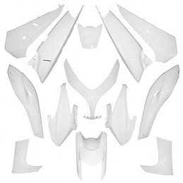 CARROSSERIE-CARENAGE MAXISCOOTER ADAPTABLE YAMAHA 500 TMAX 2008+2011 BLANC BRILLANT (KIT 13 PIECES)  -P2R-