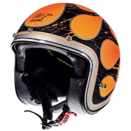 CASQUE JET MT LE MANS SV FLAMING NOIR MAT-ORANGE    XS
