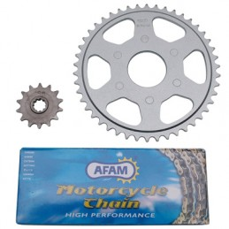 KIT CHAINE ADAPTABLE APRILIA 50 CLASSIC 1992+1999  415  13x46 (ALESAGE 50mm) (DEMULTIPLICATION ORIGINE)  -AFAM-