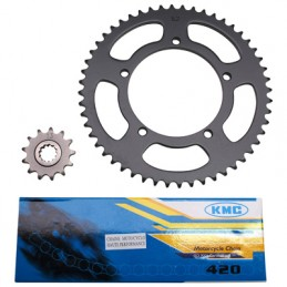 KIT CHAINE ADAPTABLE MBK 50 X-LIMIT 2004+-YAMAHA 50 DTR 2004+  420  12x52  (ALESAGE 105mm)  -P2R-